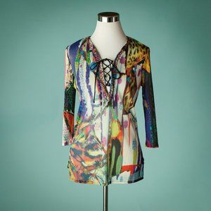 Alberto Makali S Abstract Print Lace Up Tunic Top